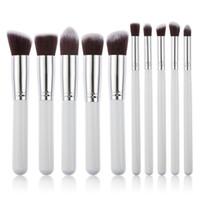 Wholesale 10 Professional Makeup Brushes Set Makeup Brushes Kit Free Draw String Makeup Bag