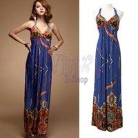 Wholesale New Fashion Womens Bohemian Hawaiian V neck Strap Long Beach Maxi Dress Sundress Summer vestido longo