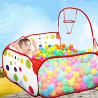 Wholesale Portable Ocean Ball Pit Pool Polyester Outdoor Indoor Kids Game Play Children Toy folding Tent Marine Ball Pool White with Red