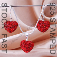 Wholesale Fast Free Ship Light Siam Sterling Silver Shamballa Heart Shape Austrian Crystal Necklace Earring Women s Jewelry Gift Sets