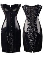 Wholesale Steel Bone Corset Dress - New Women Noble PVC Leather Erotic Bustier Hook Busk Top Corset with Dress Black Steel Boned Waist Training Corset