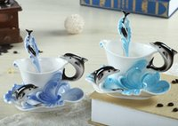 bone china tea cup - Blue And Sky Blue Dolphin Milk Tea Coffee Cups Made Of Bone China Eeuropean Coffee Tea Cup And Saucer Set Cup Saucers Spoons