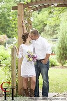 Wholesale Cheap Short Country Wedding Dresses Lace Long Sleeves Simple Crew Neck Modest Little White Beach Bridal Gowns Plus Size Zipper Back