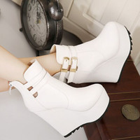 cowboy boots for women - white black leather ankle boots for women winter boots add plush platform wedge heels top PU size to