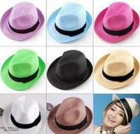 Cheap Unisex Fashion Summer Straw Braided Fedora Hat, Trilby Gangster Straw Hat Sun Cap Summer Beach Cap Shopping Travel 10pcs