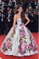 Cheap High-end celebrity dress evening dress sonam kapoor - poses cannes Festivel Myriam fare a strapless dress Custome floor length ball