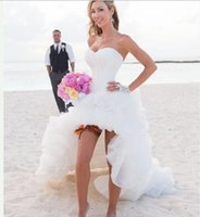 Wholesale Fashion Sweetheart High Low Wedding Dresses Custom Made Tulle Short Front Long Back Beach Bridal Gown