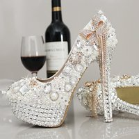Cheap Rhinestone Wedding Shoes with 14 cm High Heels Crystal Pearls