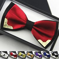 Wholesale Hot Sales Double Layer Business Dress Bow Ties For Men Formal Groom Groomsmen Party Bowknot Cravat Metal Bowtie YE0012 Salebags