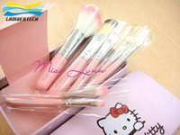 Wholesale Hello kitty Make Up Cosmetic Brush Kit Makeup Brushes Pink iron Case Toiletry beauty appliances hello Kitty makeup brush set