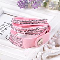 flower bracelet - Fashion Rhinestone Slake Leather Wrap Bracelet Handmade Velvet Crystal Women Bracelets