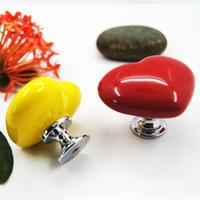 Wholesale Heart Ceramic Door Knob Cabinet Drawer Kitchen Cupboard Wardrobe Pull Handle Red Yellow X60 JJ1050W s1