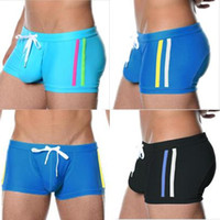 Wholesale 1pcs Sexy Mens Swimwear Swimsuits Swimming Trunks Boxer Shorts Man Sea Beach Wear Pouch Wonderjock Summer Brand Nylon new