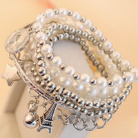 Wholesale Hot New sell female temperament unique multi layer pearl pentagram pyramid pendant bracelet