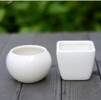 ceramic flower pots - 2014 New White Ceramic Plant Pots Crafts Flower Pots Planters Ceramic Mini Pots Good Qulity