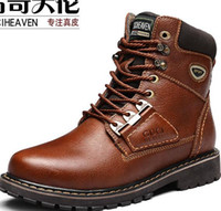 Wholesale 2016 New Designer Guciheaven Men High top Leather Shoes Warm Boots Men s Casual Leather Shoes Outdoor Sports New Fashion Mens Riding Boots