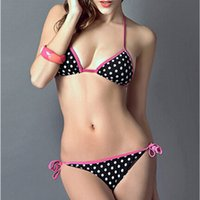Wholesale New Dot Bikini Set Padded Bra Push up Women Triangle Swimwear Swimsuit