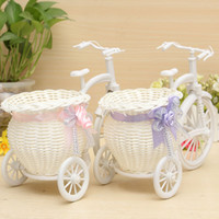 Wholesale Modern Stylish Rattan Tricycle Bike Flower Basket Vase Storage Garden Wedding Party Decoration Office Bedroom Holding Candy Gift