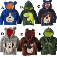 Wholesale Coral Velvet Kids Outwear Children Clothing Autumn Winter New Cartoon Zipper Hoodies Boys And Girls Animal Clothes