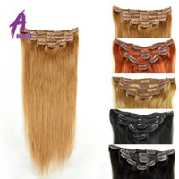 Wholesale 18inch set g clips Straight Clip In Human Hair Extensions Jet Black Clip In Hair Full head Set Colors Available