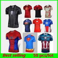 fitness wear training wear - 2016 TOP SALE The Avengers compression men t shirts Training Sport Running Gym clothes Exercise Fitness Tight Compression fitness wear