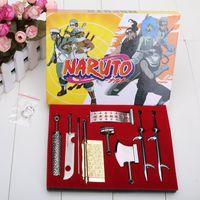 naruto - 9pcs set cm Anime Naruto Cosplay Model Metal Sword Knife toy