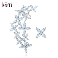arrival zirconia fashion - Teemi Brand New Arrival Fashion Jewelry White Gold Plated Vintage Stud Brincos CZ Crystal Flower War Cuff Earring fo Women Party