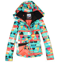 Wholesale new womens geometric figure snowboarding jacket ladies colorful ski jacket waterproof snow parka skiwear