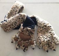 claw gloves - cartoon scarf tiger paw claw gloves set eopard fashion warmer winter scarf