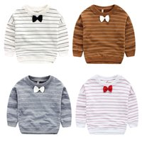 Wholesale Boys long sleeve t shirt Gentle Striped bow Comfort o neck crew collar baby toddler t shirts T young tops Outwear boy clothing