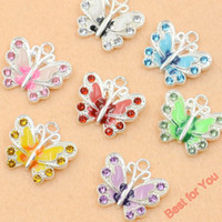 crystal craft - 50pcs Mixed Silver Plated Enamel Crystal Butterfly Charms Pendants Jewelry Making DIY Findings Accessories Craft styles