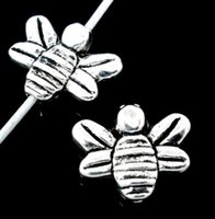 Wholesale Silver Tone Bee Shaped Spacer Beads x12mm W00671x5