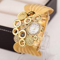 acrylic rhinestone bracelets - 2016 TOP Watch Women Top Luxury Ladies Dress Gold Net Bracelet Crystal Rhinestone Watches Quartz Women s Wristwatches