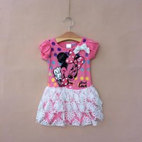 Cheap Miki Minnie Mouse Summer Children Girls Tutu Dresses Kids Clothing Puff Short Sleeve Lace Ruffles Dress Childs Girl Lovely Dressy H1845