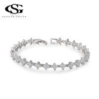 Wholesale 015 G S CZ Platinum Plated Christmas Gift Luxury Star Bracelet Bangle Statement Fashion Jewelry For Women Party Wedding