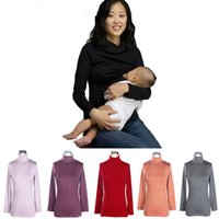 hot summer tops - Maternity Shirt Breastfeeding Tops Thermal Heating Cotton fiber Nursing tops for Pregnant Women colors Hot