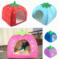 outdoor dog kennels - Fashion Strawberry Pet Bed House Winter Warm Soft Cat Dog Sponge Nest Sofa Kennel Size quot S quot ZZD S