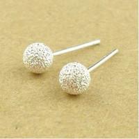 dollar store - 2015 Direct Selling Sale Hoop Huggie Rubber Gasket T01482 Dollar Store Network Selling Jewelry Korean Version Simple Frosted Ball Earrings