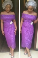 aso ankle - Sexy Lace Evening Dresses Ankle Length Purple Party Prom Gowns With Bateau Appliques Aso Ebi Style Sheath With White Decorations