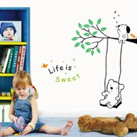 Wholesale DIY Child Rooms Wallpaper Cute Lovely Bear Puppy Sit on the Tree Wing Wall Sticke Stickers Art Decor Mural Room Decal