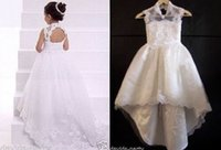 Wholesale new Girl s Pageant Dresses WhiteIvory Lace Flower Girl Dresses Wedding bridesmaid Formal Gown with Train