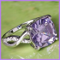 Wholesale Crystal Light Purple Topaz Gemstone Top Quality Wedding Lady Finger Rings for Evening Prom Party Size Bridal Bridesmaid