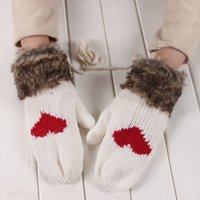Wholesale Hot Sale Women s Winter Mitten Kintted Gloves Thick Warm Cute Gloves Fur Wool Gloves Colors for Choosing Make By Hand High Quality