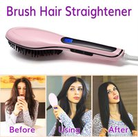 Wholesale 4 Colors Hair Straightener Brushes Fast Straightening Irons Comb Styling Tool Straightener Iron Brush with LCD Digital Temperature Control