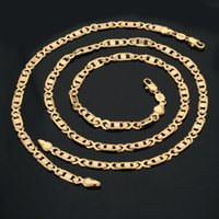 Wholesale 18K Real Gold Plated Necklace With quot K quot Stamp New Fashion Men Jewelry Classic Link Chain Collar Fashion Necklace Bracelet Set