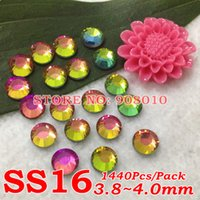Wholesale RAINBOW Color SS16 mm Pack Crystal FlatBack Non Hotfix Nail Art Glass Rhinestones