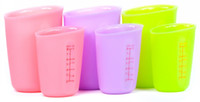 Wholesale Flexible Silicone Measuring Cups ml ml Double Marks on sides Half See Through Measure Milk Mug