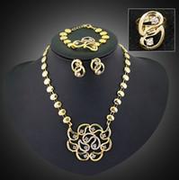 2015 Top Quality 18 K plaqué or Jewelry Set Vente Bague Boucle Bracelet Collier Set Un mariage Jewerly Hot Femme Bijoux -J373