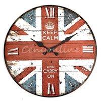 Wholesale Newest Stylish Wall Clock Union Jack Vintage Rustic Shabby Home Office Cafe Bar Decoration Art