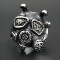 african face mask - 2pc Size Newest Design Cool Man Gas Mask Ring L Stainless Steel Band Party Punk Style Mask Ring